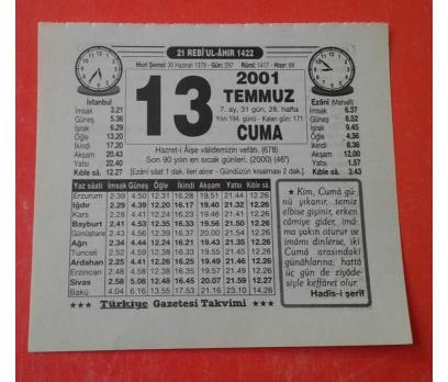13 TEMMUZ 2001 ÇARŞAMBA TAKVİM YAPRAĞI