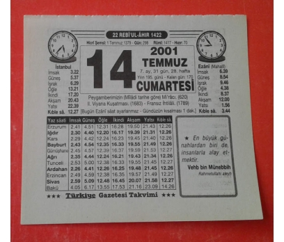 14 TEMMUZ 2001 ÇARŞAMBA TAKVİM YAPRAĞI