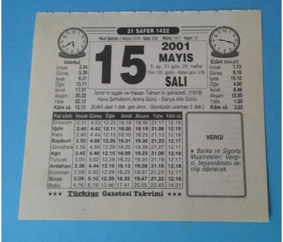 15 MAYIS 2001 SALI TAKVİM YAPRAĞI