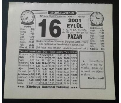 16 EYLÜL 2001 PAZAR TAKVİM YAPRAĞI