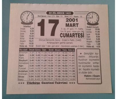 17 MART 2001 CUMARTESİ TAKVİM YAPRAĞI
