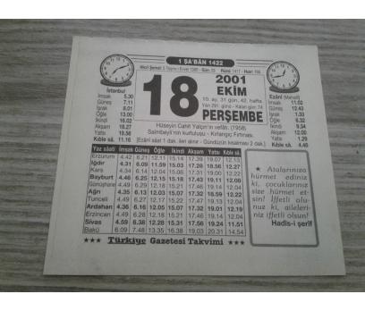 18 EKİM 2001 PERŞEMBE TAKVİM YAPRAĞI