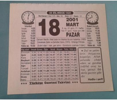 18 MART 2001 PAZAR TAKVİM YAPRAĞI 1