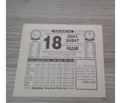 18 ŞUBAT 2001 PAZAR TAKVİM YAPRAĞI