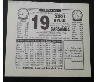 19 EYLÜL 2001 ÇARŞAMBA TAKVİM YAPRAĞI