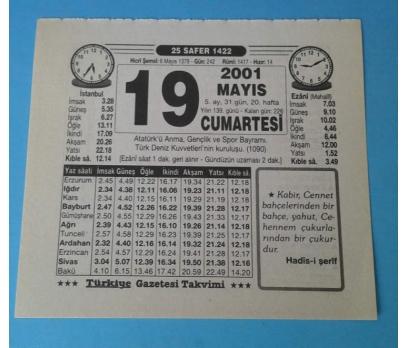 19 MAYIS 2001 CUMARTESİ TAKVİM YAPRAĞI