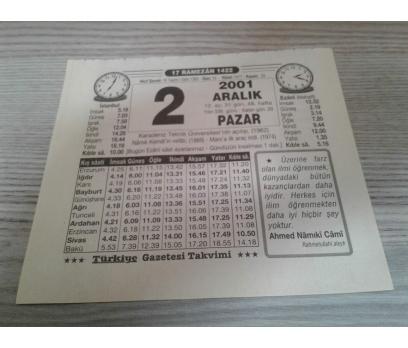 2 ARALIK 2001 PAZAR TAKVİM YAPRAĞI