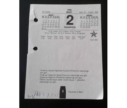 2 MART 1998 PAZARTESİ TAKVİM YAPRAĞI