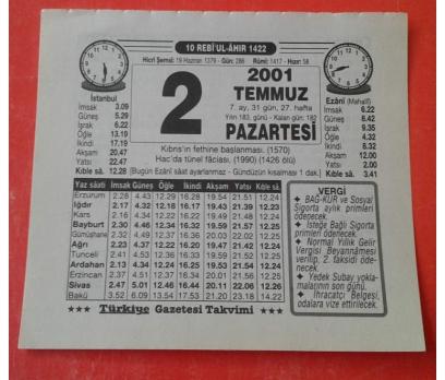 2 TEMMUZ 2001 PAZARTESİ TAKVİM YAPRAĞI