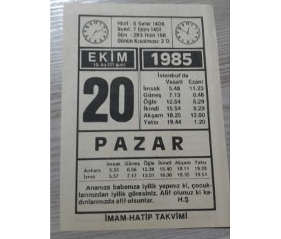 20 Ekim 1985 Pazar Takvim Yaprağı