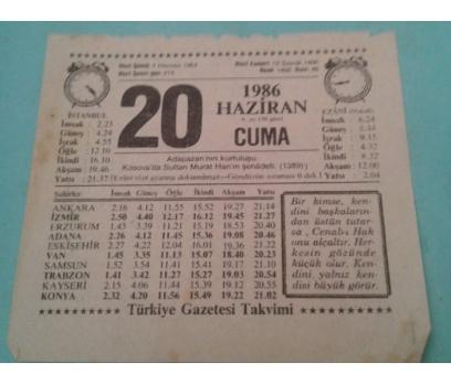 20 HAZİRAN 1986 CUMA TAKVİM YAPRAĞI