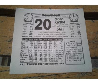 20 KASIM 2001 SALI TAKVİM YAPRAĞI