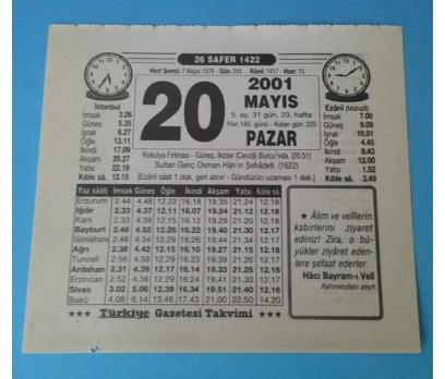 20 MAYIS 2001 PAZAR TAKVİM YAPRAĞI