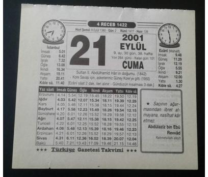 21 EYLÜL 2001 CUMA TAKVİM YAPRAĞI