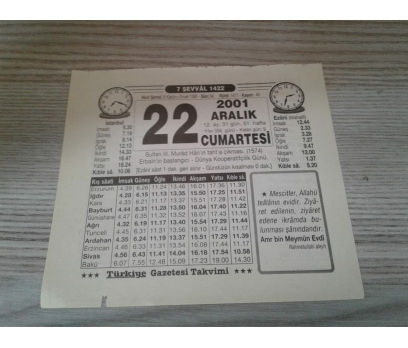 22 ARALIK 2001 CUMARTESİ TAKVİM YAPRAĞI