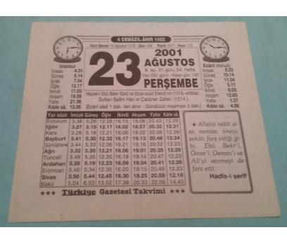 23 AĞUSTOS 2001 PERŞEMBE TAKVİM YAPRAĞI
