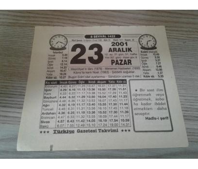 23 ARALIK 2001 PAZAR TAKVİM YAPRAĞI