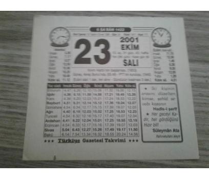 23 EKİM 2001 SALI TAKVİM YAPRAĞI