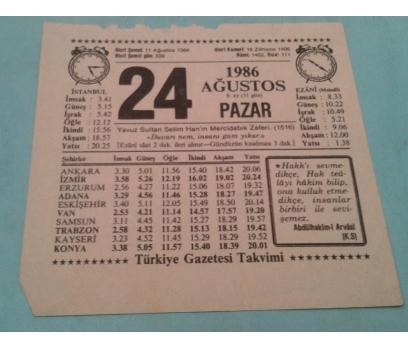 24 AĞUSTOS 1986 PAZAR TAKVİM YAPRAĞI