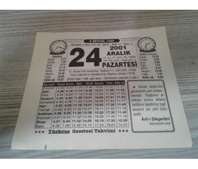 24 ARALIK 2001 PAZARTESİ TAKVİM YAPRAĞI