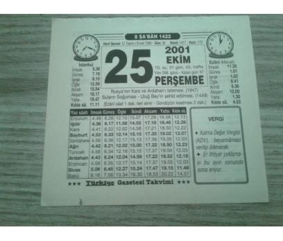 25 EKİM 2001 PERŞEMBE TAKVİM YAPRAĞI