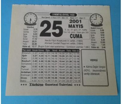 25 MAYIS 2001 CUMA TAKVİM YAPRAĞI