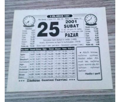 25 ŞUBAT 2001 PAZAR TAKVİM YAPRAĞI