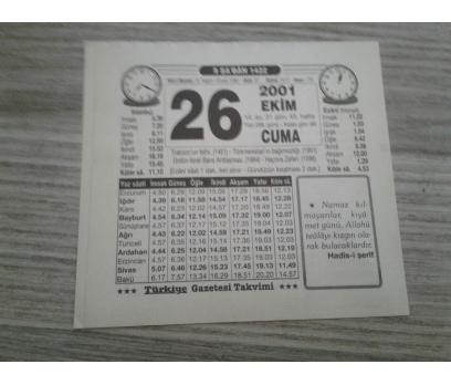 26 EKİM 2001 CUMA TAKVİM YAPRAĞI