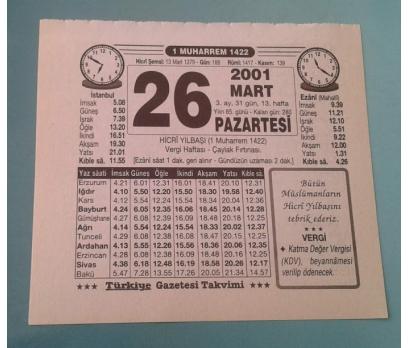 26 MART 2001 PAZARTESİ TAKVİM YAPRAĞI