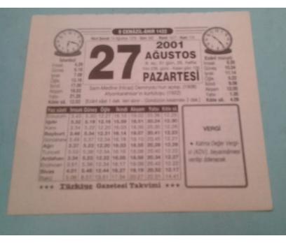 27 AĞUSTOS 2001 PAZARTESİ TAKVİM YAPRAĞI