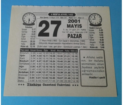 27 MAYIS 2001 PAZAR TAKVİM YAPRAĞI
