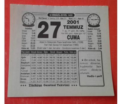 27 TEMMUZ 2001 CUMA TAKVİM YAPRAĞI