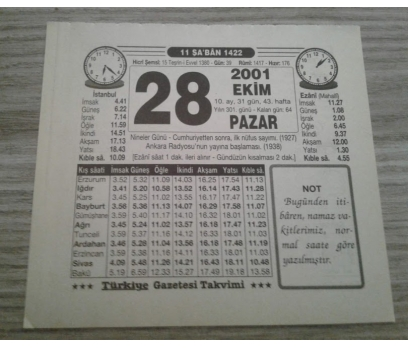28 EKİM 2001 PAZAR TAKVİM YAPRAĞI