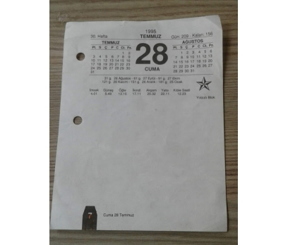 28 TEMMUZ 1995 CUMA TAKVİM YAPRAĞI