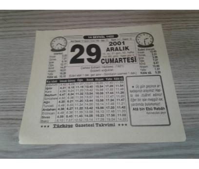 29 ARALIK 2001 CUMARTESİ TAKVİM YAPRAĞI