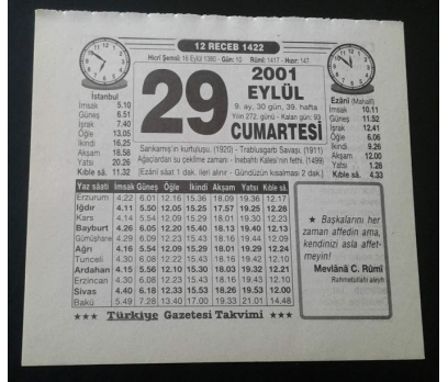 29 EYLÜL 2001 CUMARTESİ TAKVİM YAPRAĞI