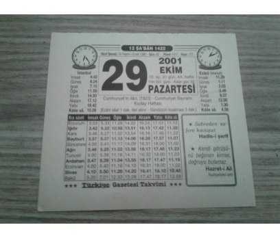 29 HAZİRAN 2001 PAZARTESİ TAKVİM YAPRAĞI