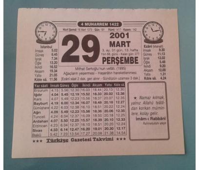 29 MART 2001 PERŞEMBE TAKVİM YAPRAĞI