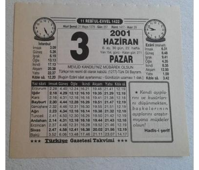 3 HAZİRAN 2001 PAZAR TAKVİM YAPRAĞI