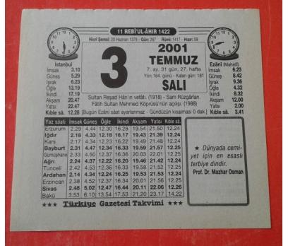 3 TEMMUZ 2001 SALI TAKVİM YAPRAĞI