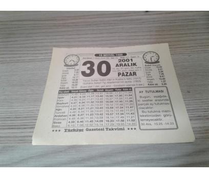 30 ARALIK 2001 PAZAR TAKVİM YAPRAĞI