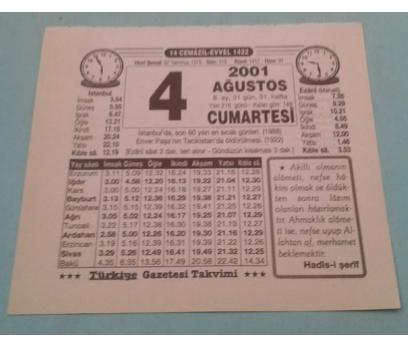 4 AĞUSTOS 2001 CUMARTESİ TAKVİM YAPRAĞI