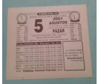 5  AĞUSTOS 2001 PAZAR TAKVİM YAPRAĞI