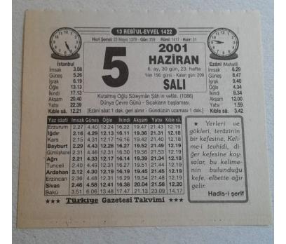 5 HAZİRAN 2001 SALI TAKVİM YAPRAĞI