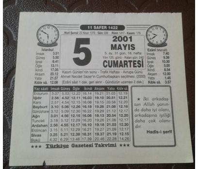 5 MAYIS 2001 CUMARTESİ TAKVİM YAPRAĞI
