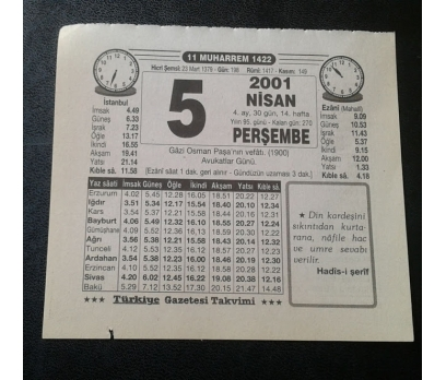 5 NİSAN 2001 PERŞEMBE TAKVİM YAPRAĞI