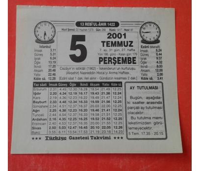 5 TEMMUZ 2001 PERŞEMBE TAKVİM YAPRAĞI