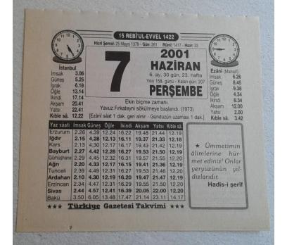 7 HAZİRAN 2001 PERŞEMBE TAKVİM YAPRAĞI