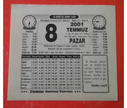 8 TEMMUZ 2001 PAZAR TAKVİM YAPRAĞI