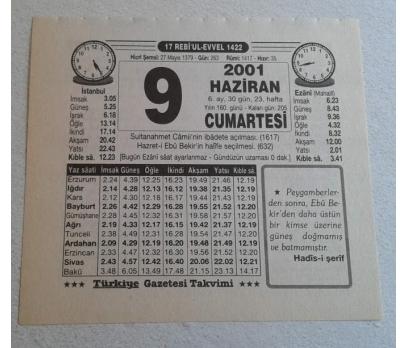 9 HAZİRAN 2001 CUMARTESİ TAKVİM YAPRAĞI